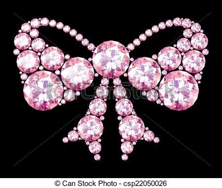 Clip Art of Diamond bow on black (high resolution 3D image.