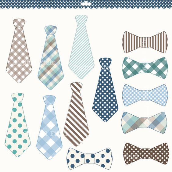 Necktie and Tie Bow clip art set.