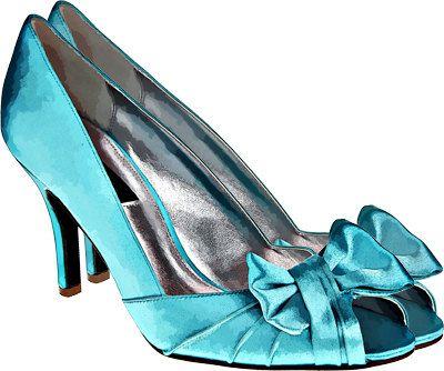 Items similar to blue bow high heel shoe clip art png digital.