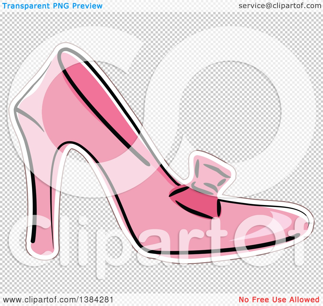Clipart of a Pink High Heel Shoe with a Bow.