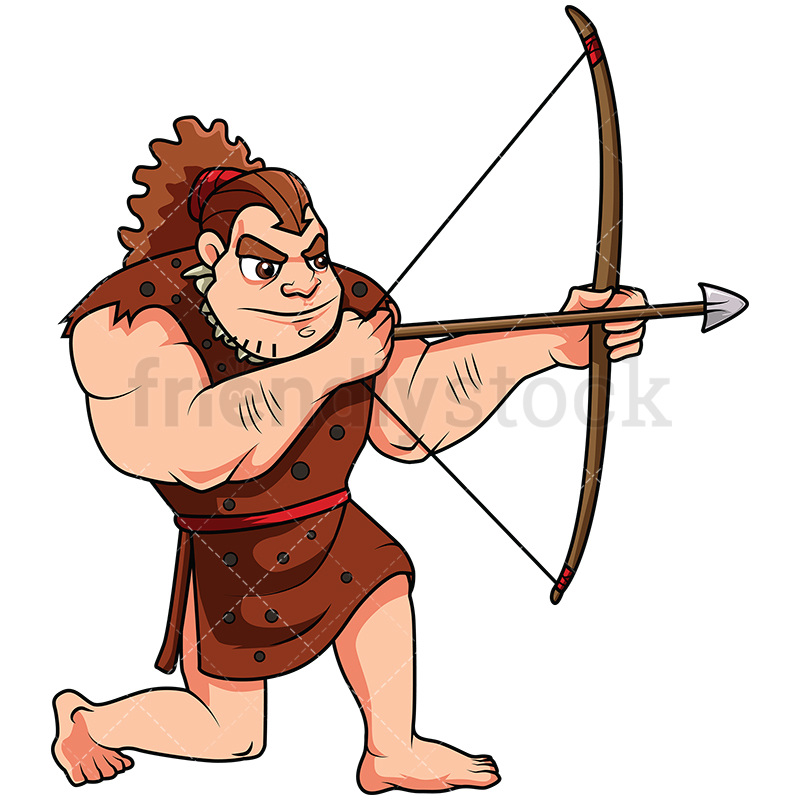Caveman Hunting With A Bow.