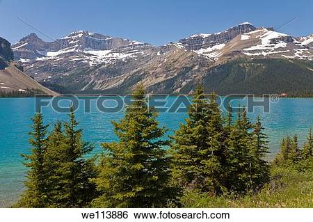 Stock Images of Bow Lake, Icefields Parkway, Alberta, Canada.