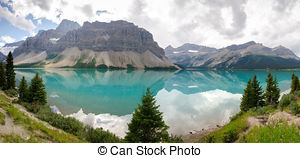 Stock Photographs of Bow Lake on the Icefield Parkway in Canada.