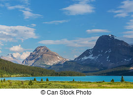 Stock Image of Bow Lake Panorama at the Icefield Parkway in Banff.