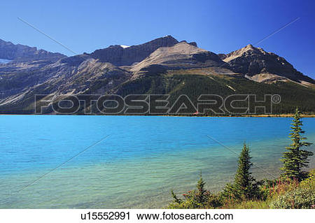 Stock Photography of Bow Lake and Mt Jimmy Simpson with Num.