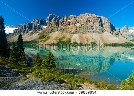 Waputik Ranges Reflection On Bow Lake Stock Photo 69859054.