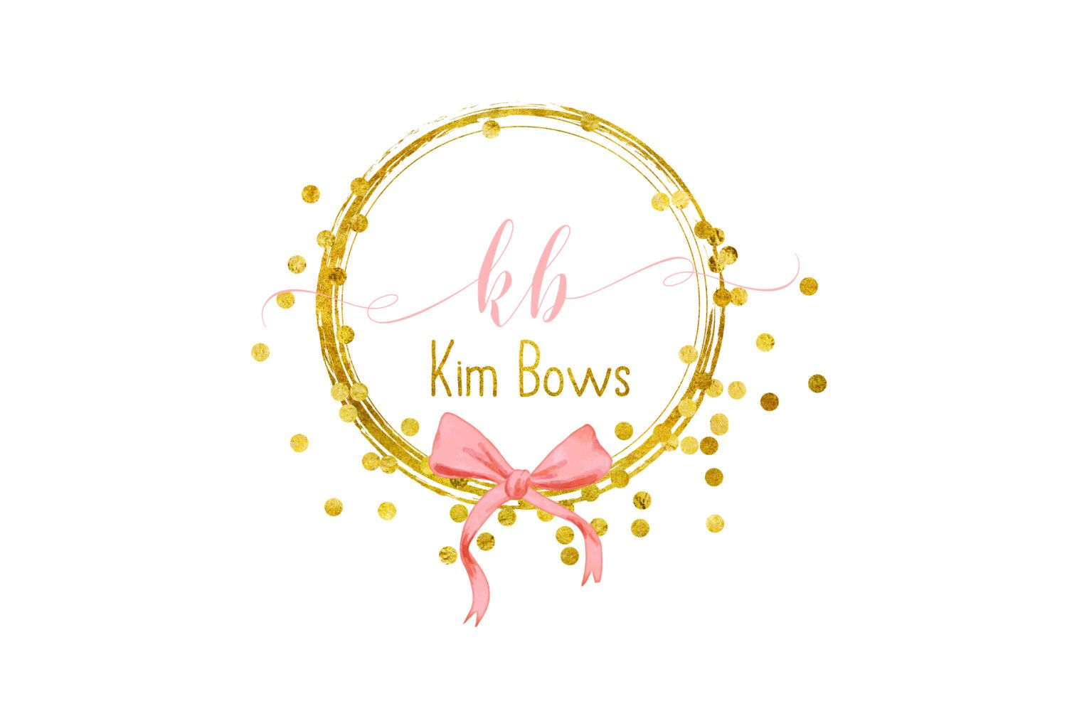 Custom logo design gold pink bow Jewelry logo Beauty Fashion.