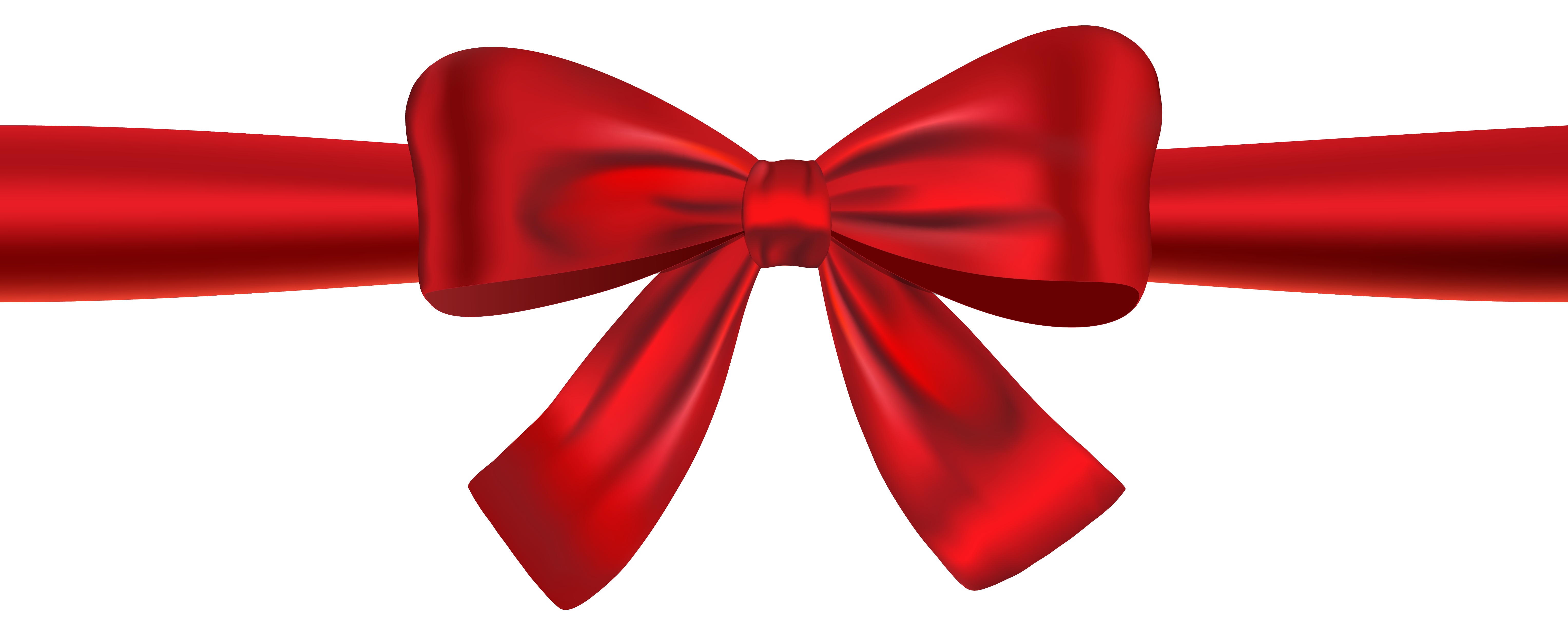 Red Ribbon and Bow PNG Clipart Image.