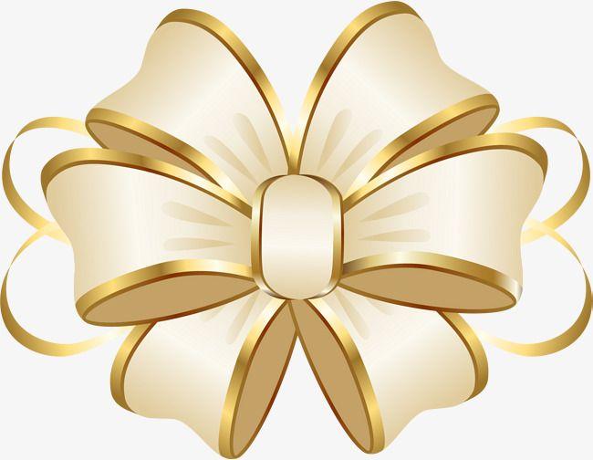Cartoon Gold Ribbon Bow, Cartoon Clipart, Ribbon Clipart, Bow.