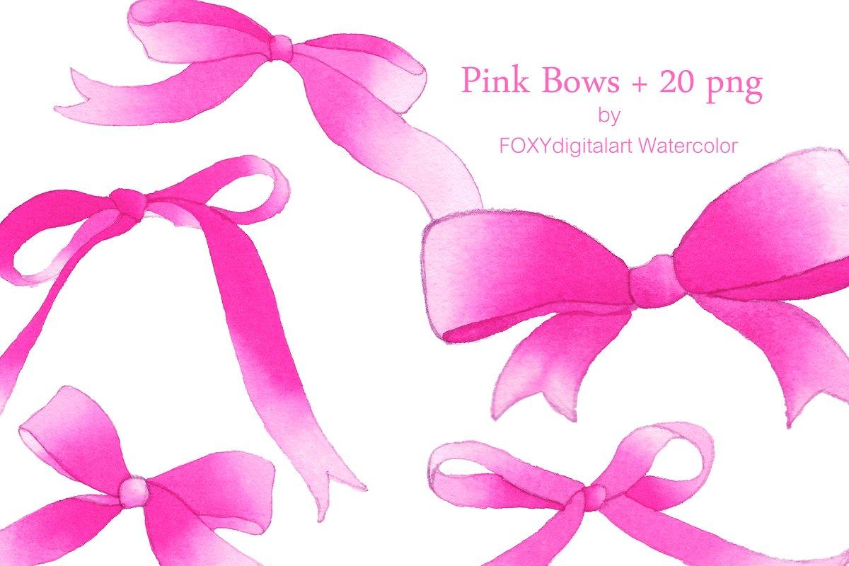 Watercolor Pink Bow Ribbon Clipart ~ Illustrations ~ Creative Market.