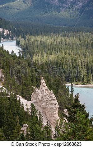Stock Photo of Bow River and the Hoodoos near Banff Canadian.