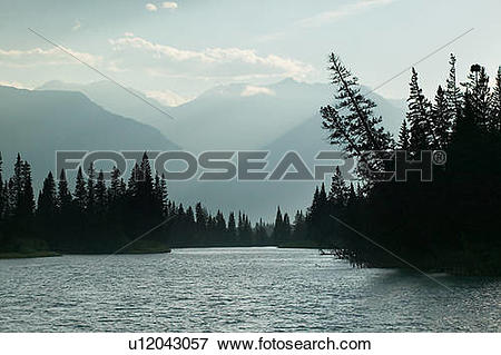 Picture of Bow River and the Massive Range. Banff National Park.