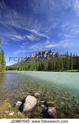 Stock Photo of Castle Mountain and the Bow River in the Bow Valley.