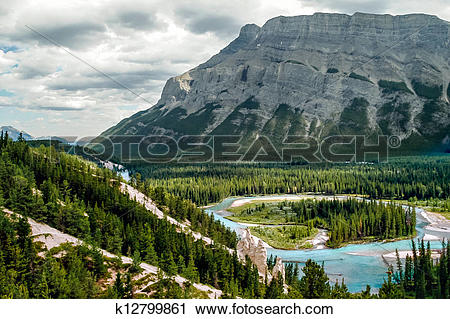Stock Photography of Bow River and the Hoodoos near Banff Canadian.