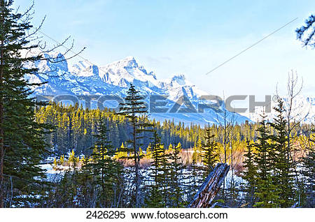 Stock Image of View of the Bow River, near Canmore; Alberta.