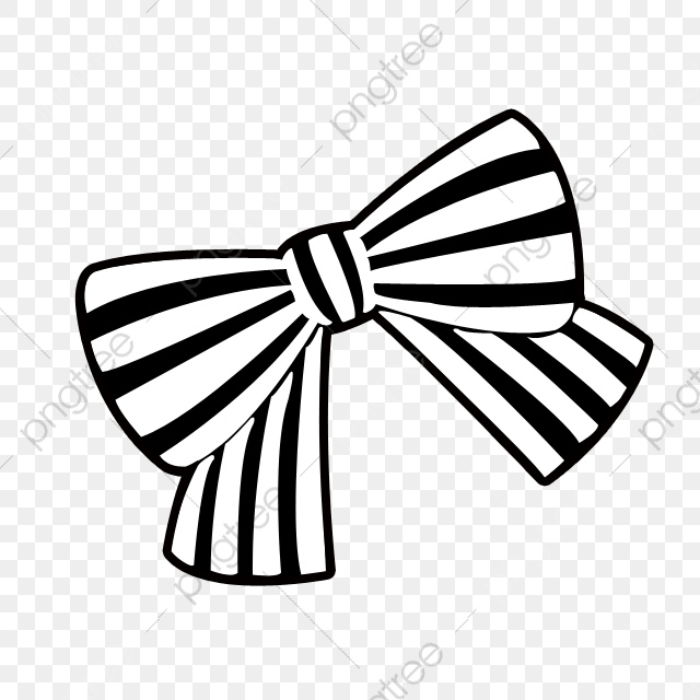 Black And White Striped Bow, Bow Clipart, Cute Cartoon, Bow PNG.