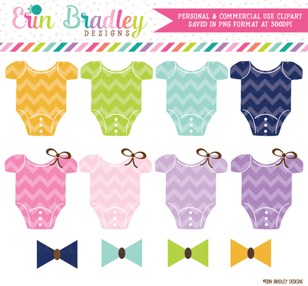 Chevron Baby Tees and Bow Ties Clipart.