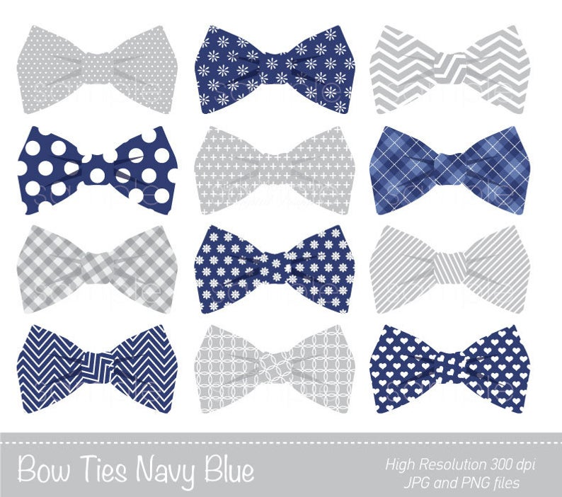 Bow Ties Clipart, Bowtie Clip art, Navy Blue, Grey, Personal & Commercial  Use, only FOR PERSONAL USE.