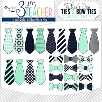 Father's Day Ties & Bow Ties Clipart Set: Navy & Sea Green.