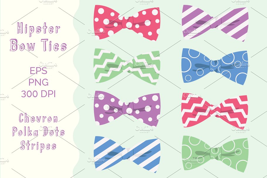 Digital Bow Ties Clipart, Hipster.