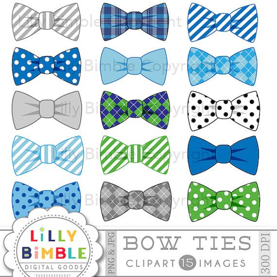 Bow ties clipart 15 bowties blue, gray, striped, polka dots.