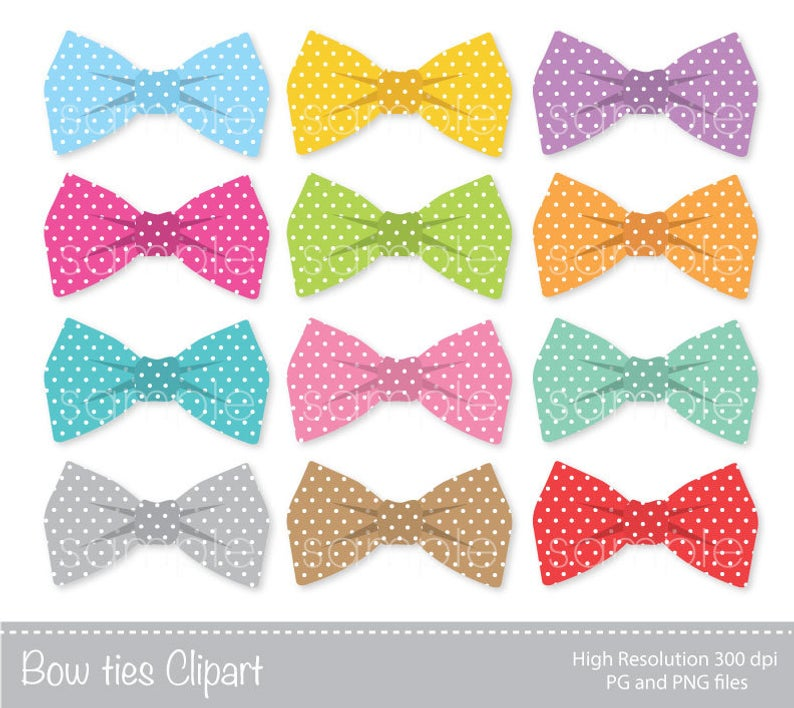 Bow Ties Clipart, Bowtie Clip art, Colorful Bowties, Personal & Commercial  Use,only FOR PERSONAL USE.