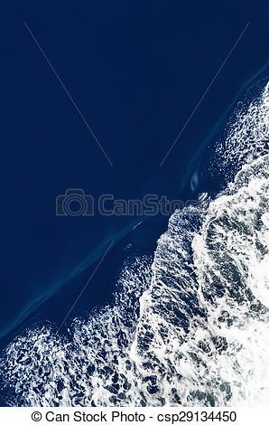 Stock Images of Bird's eye view of a bow wave with slight motion.