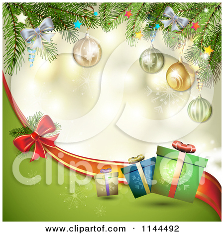Clipart of a Christmas Border with a Poinsettia Gifts and Bow.