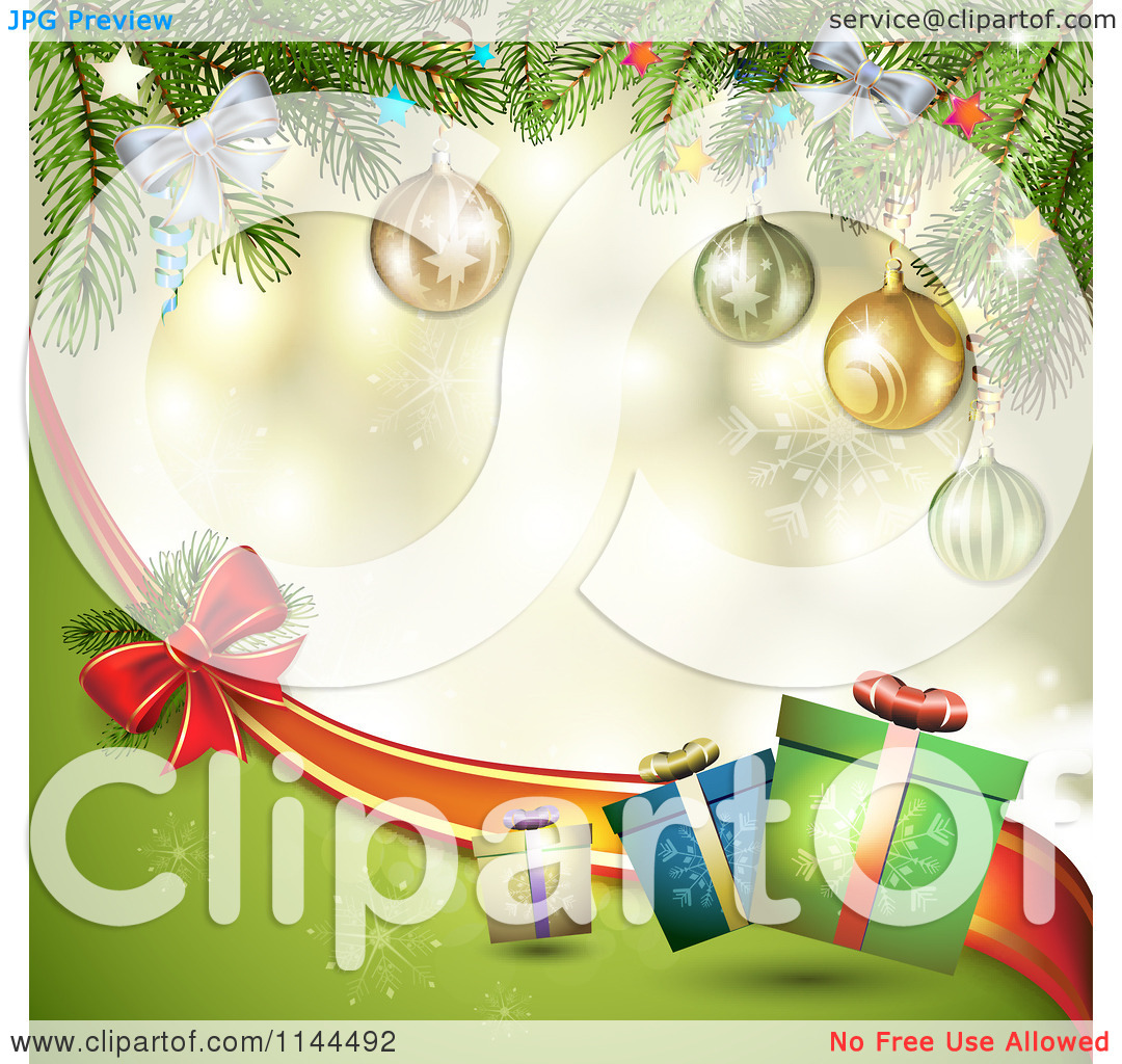 Clipart of a Christmas Background of Tree Branches Gifts and a Bow.