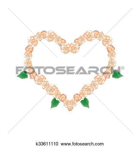 Clipart of Orange Glory Bower Flowers in Heart Shape k33611110.