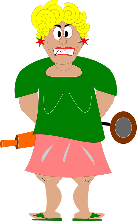 Free vector graphic: Housewife, Woman, Man, Angry, Blond.