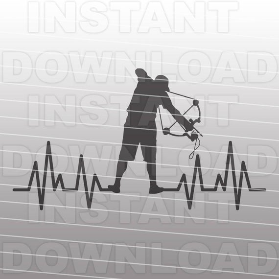 Bowfishing Heartbeat SVG File,Bowfishing SVG File,Fishing SVG.