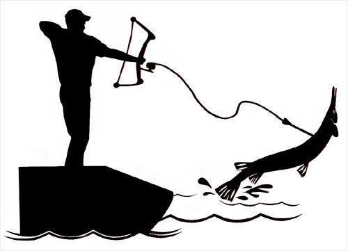 bowfishing sticker vinyl decal bow fishing gar bow reel fish arrow.
