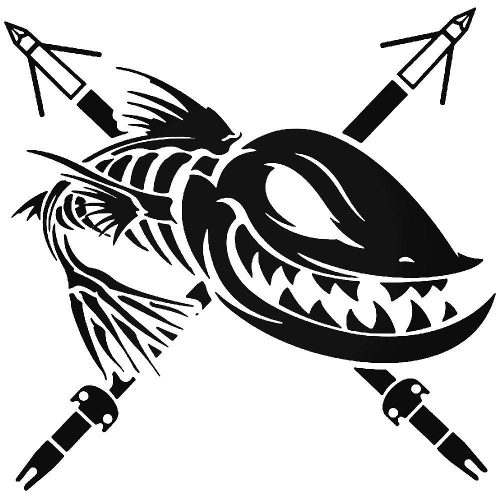 Bowfishing Spears Fish Skeleton Sticker BallzBeatz . com.