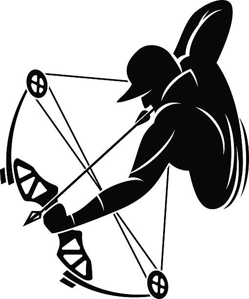 Bow hunter aiming with compound bow » Clipart Station.