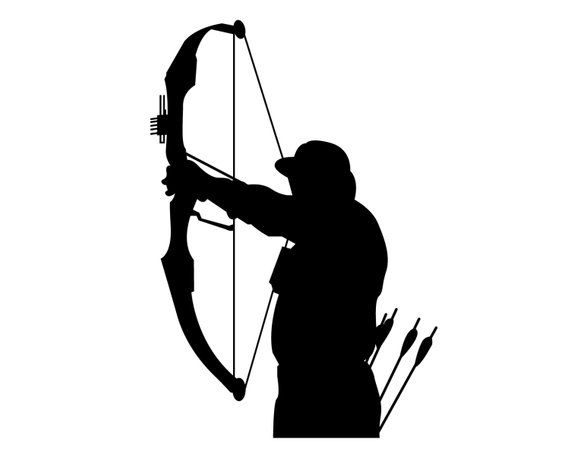 Bow Hunting Vinyl Sticker , Bow Deer Hunter Decal , Compound.