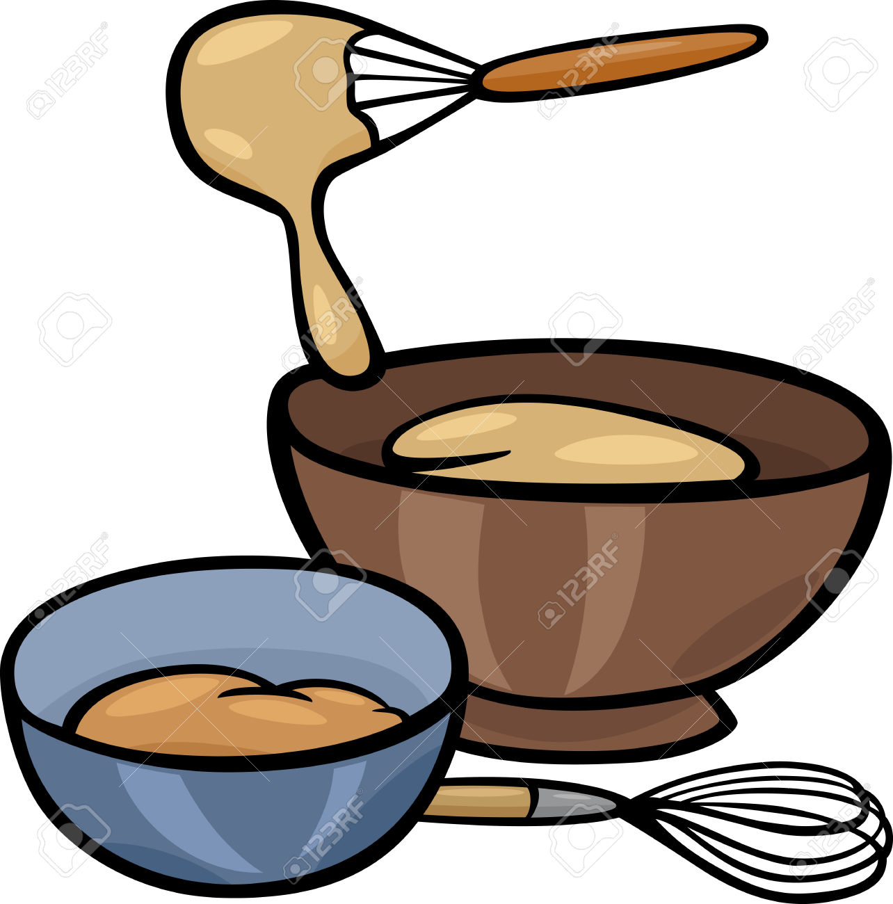 Cartoon Illustration Of Kneading Dough With Whisk In A Bowl Clip.