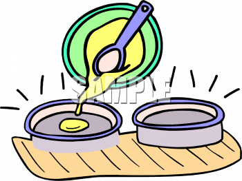 Clipart Picture of Pouring Cake Batter into Pans.