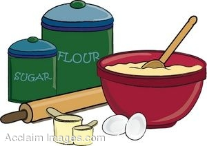 Clip Art of Things Used For Baking a Cake.