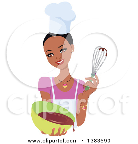 Clipart of a Pretty Black Baker Woman with Short Hair, Holding up.