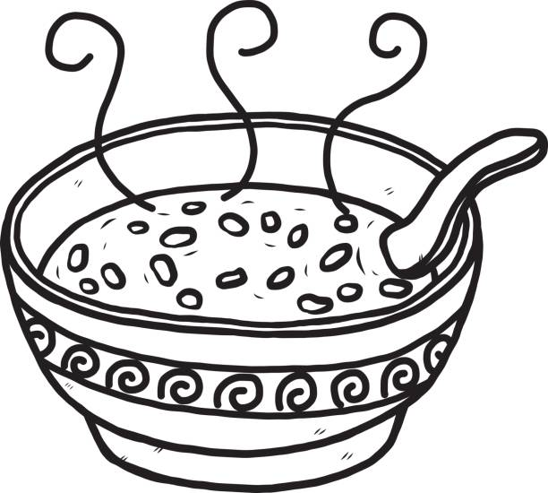 Black And White Cartoon Bowl Of Rice Illustrations, Royalty.