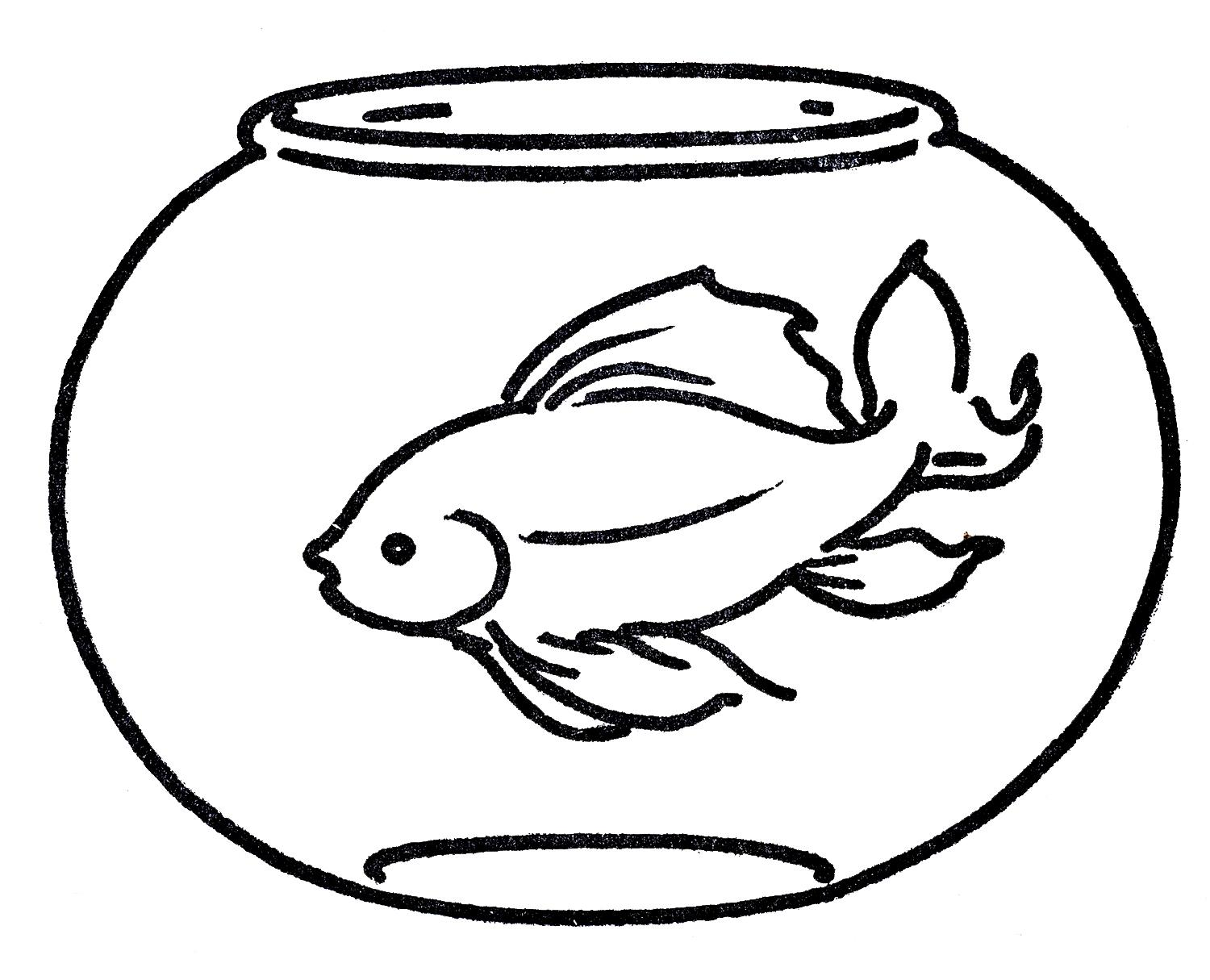Bowl Fish Black And White Clipart.