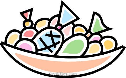 bowl of candies Royalty Free Vector Clip Art illustration.
