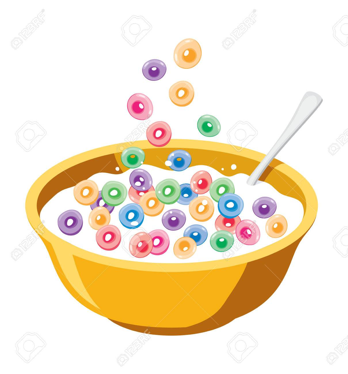 vector yellow bowl with cereals in milk isolated on white background.