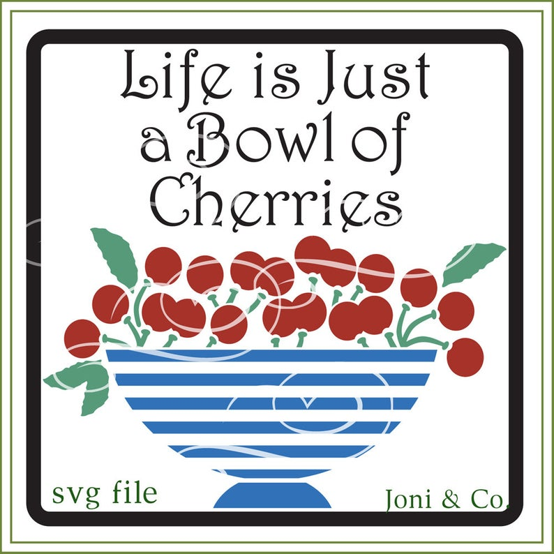 Bowl of Cherries SVG File, Glass Block Design, SVG file, vinyl cutting,  printable, iron on transfer for fabric, crafts, cards.