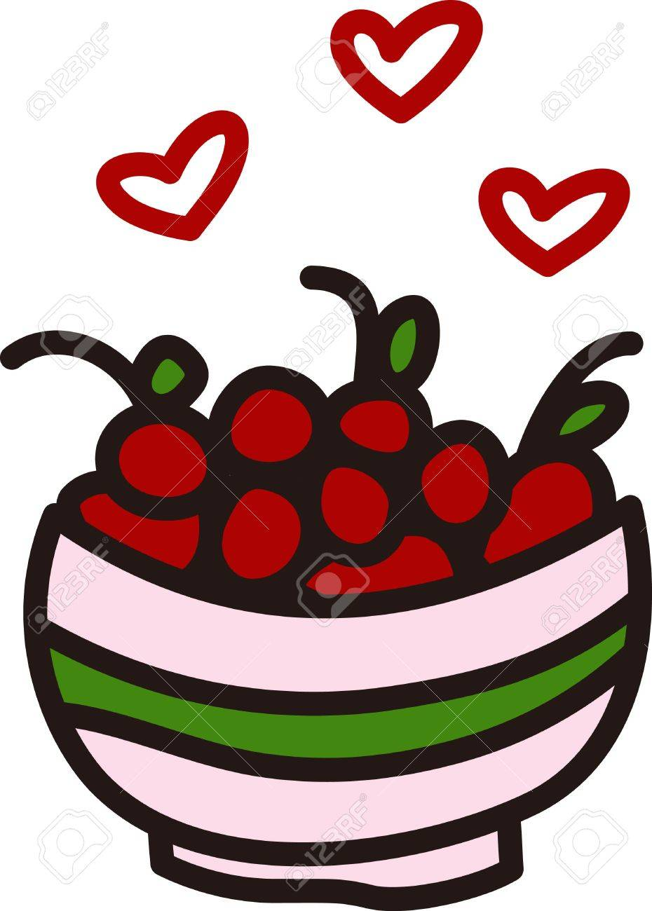 A big bowl of cherries creates a fruity delight. Hearts designate...