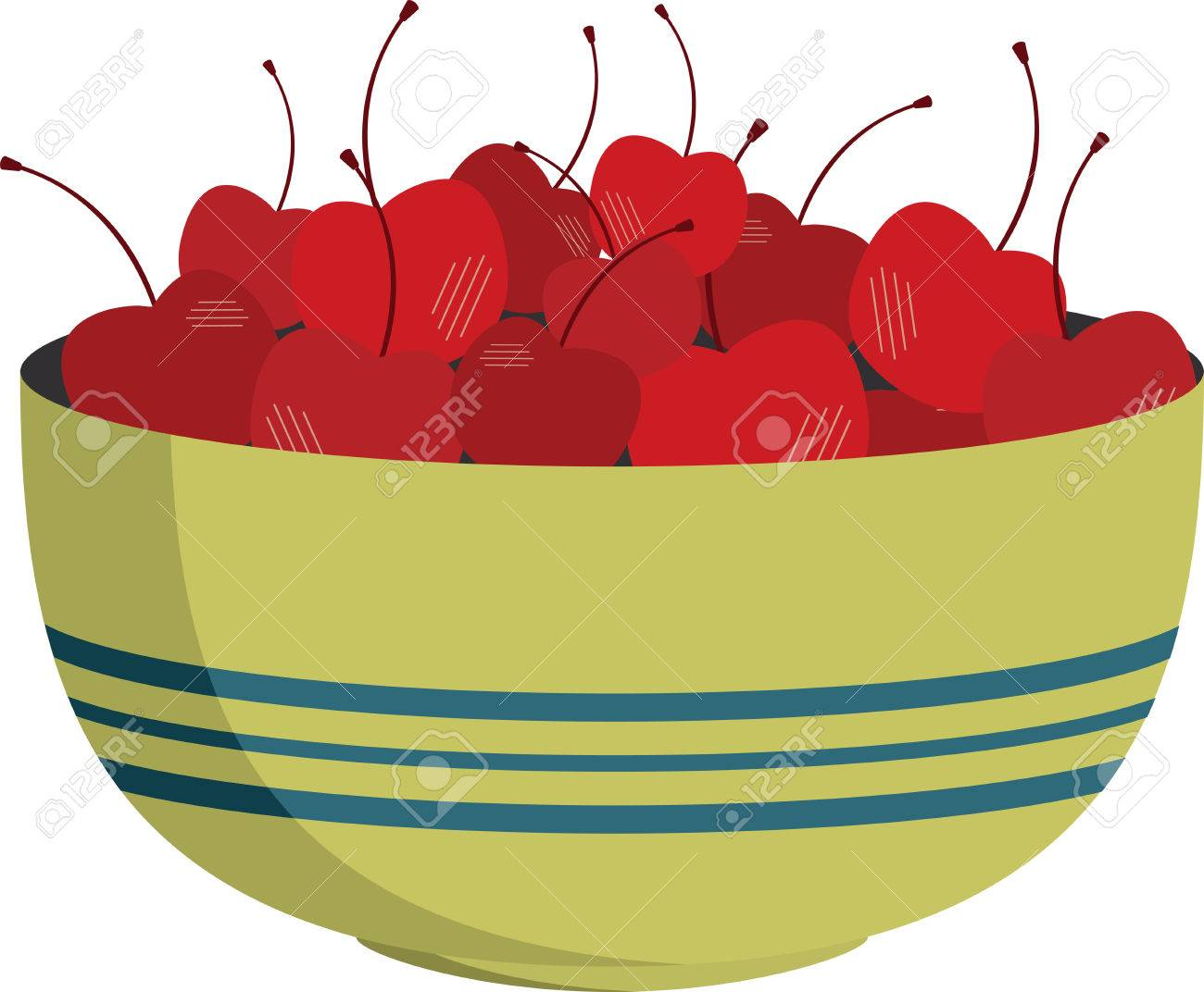 Bowl of shining red cherries for kitchen decorating..