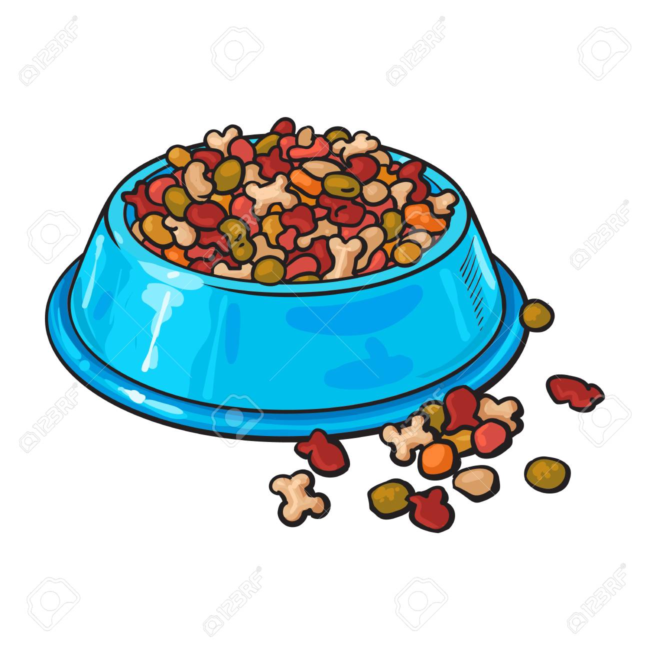 Blue shiny plastic bowl filled with dry pelleted food for pet,...