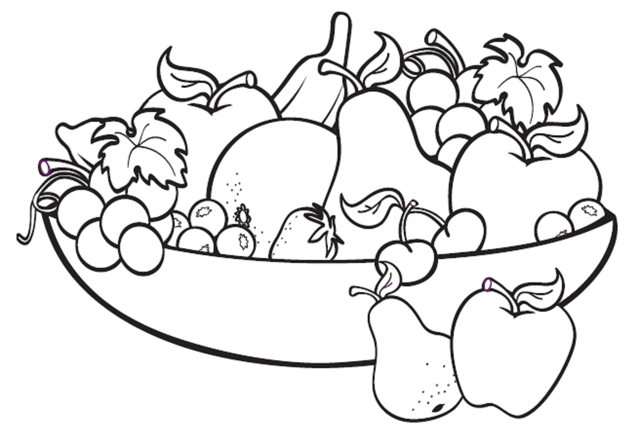 Fruit Bowl Clipart Black And White.
