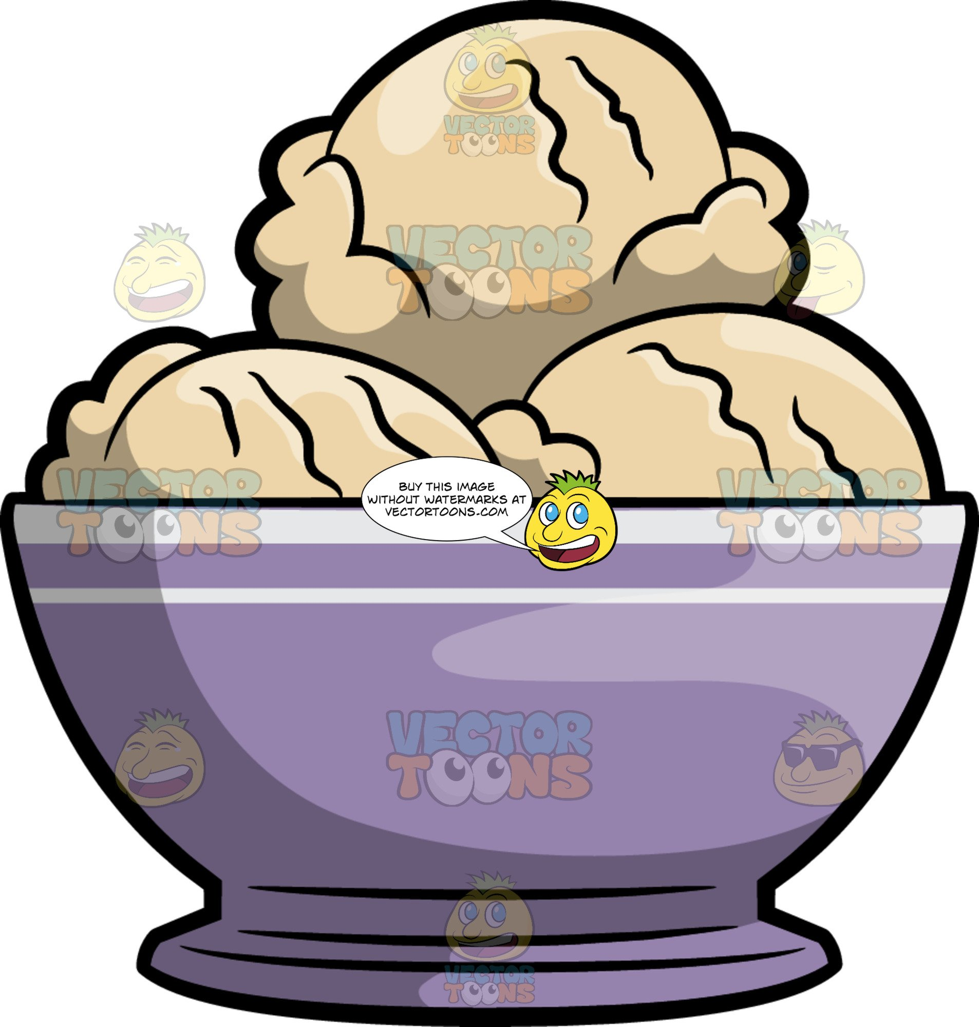 Scoops Of Vanilla Ice Cream In A Bowl.